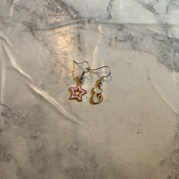 Hand Crafted Jewelry - CAT STAR | Enamel Earrings Stainless Steel